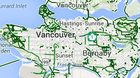 Map of Vancouver's bike routes
