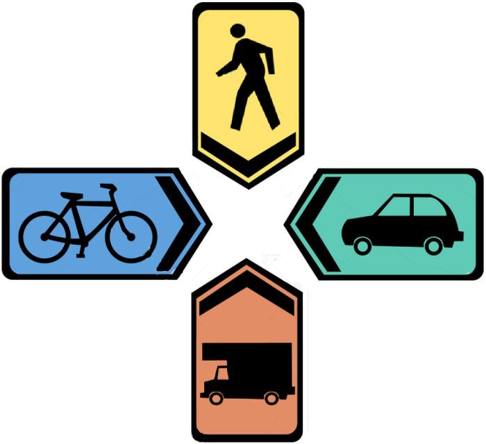 colorful-pedestrian-bike-car-truck